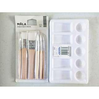 Ikea Mala children's brush set + Kinokuniya mixing palette