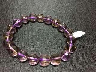 🚚 紫黃晶圓切角手鍊
