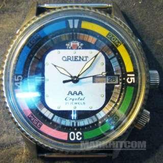 ORIENT AAA CRYSTAL super-compressor Diver WATCH 70s Green & White square dial watch