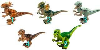 Lego Jurassic World Dinosaurs 1 to 5.