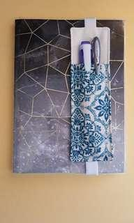 A5 pen holder & bookmark for diary,journal,planner or notebook. Handmade,1 of a kind.