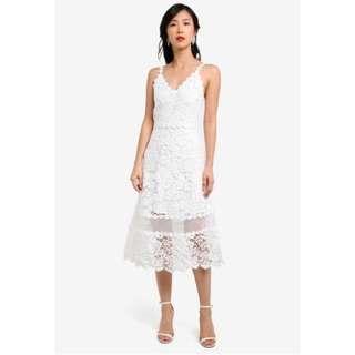ZALORA Crochet Lace Flare Midi Dress