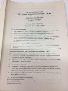 Oxford physics DSE Mock paper 2014-17