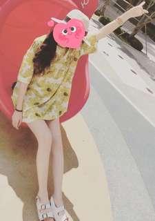 🌼黃色花花洋裝🌼