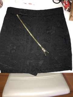 韓國黑色暗花拉鏈短裙
