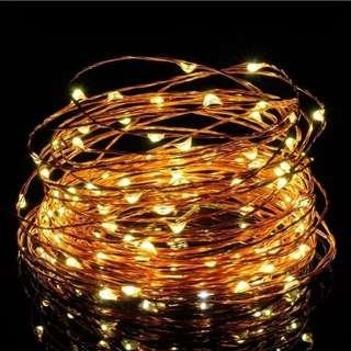 10M 100 LED Copper/Silver Wire Battery Operated Fairy Light