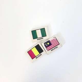 Vintage old flag erasers stationery