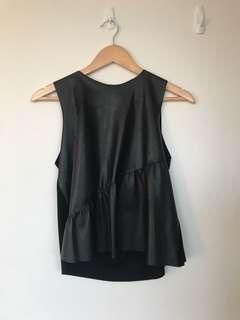 Zara black leather knit top