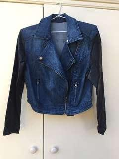 Denim Jacket with Leather Sleeves - Size S