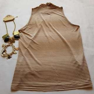 🆕️ Brown Stripes Ruffle Collar Top #OCT10 #H&M50