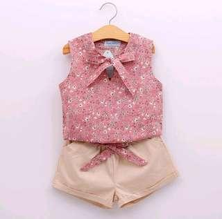 🌟PM for price🌟 🍀Girl Sleeveless Floral Top+Shorts 2pcs Set🍀