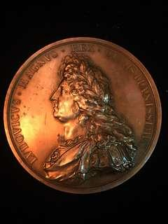 1693 France King Louis XIV - Maritime Splendor of France. Very Large Bronze Medal, Ultra Rare. Heavy, High-3D Relief. Official French Mint Re-strike (post-1880).