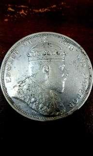 Old Coin, 1 Dollar King Edward VII, Straits Settlements, Years 1904