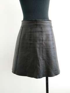 Vintage Genuine black leather skirt size 8