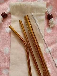 Stainless Steel Straw Set Gold and silver