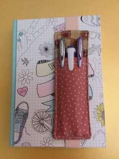 A5 elastic pen holder bookmark for journal,notebook,diary or planner. Handmade,1 of a kind,gift.
