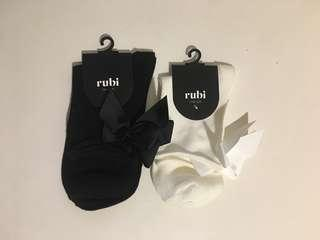 Black and White Ribbon/Bow Socks