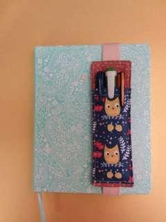 A5 elastic pencil case for journal,diary,planner or notebook. A5 pen holder. Handmade,1 of a kind,gift.