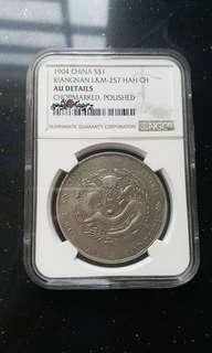 NGC-AU Detail China Kiangnan 1904 Silver dragon $1