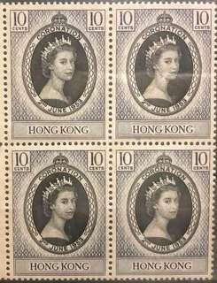 1953 年經典集郵大全- 女皇加冕四連票