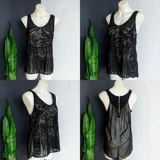 Women's size 12 'IMPRINT' Gorgeous black Semi Sheer Hi-low Sleeveless Top  - AS NEW