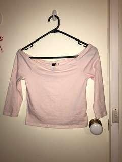 Baby pink off the shoulder crop top