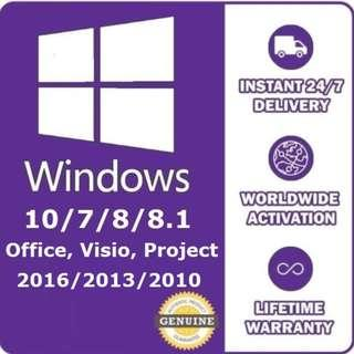 Windows 10/8/7 Office 365/2016/2013/2010/Project/Visio Genuine Product Key Online Activation