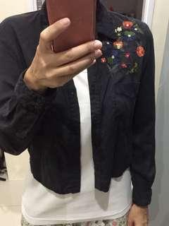 Zara cropped embroidered shirt