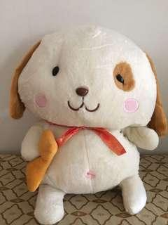 Brown and White Dog with Bone Plush Toy