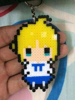 Saber from Fate Series Perler Beads Keychain / Handphone Strap