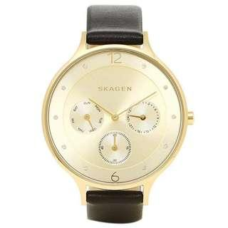 CLEARENCE! SKAGEN Anta Gold-Tone Dial Leather Ladies Watch SKW2393