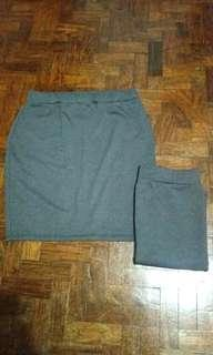 (New) Gray Stretchable Skirt (M-L)