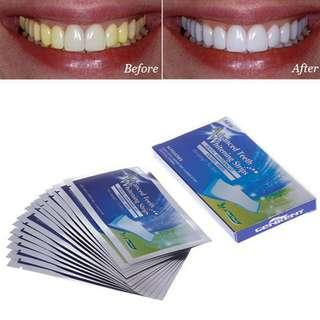 Ready Stock Teeth Whitening Strips FOR A BRILLIANT WHITE SMILE! 1 Box $8 (14 sachets, 28strips). 2 Boxes $14 only (28 sachets, 56 strips).  Price Includes normal post, additional $2.00 for registered post.
