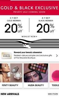 💕FREE 20% off Sephora private sales for gold and black card members only