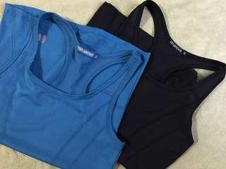 Brand New - Terranova Gym Top Lycra Sleeveless, Set of 2, Black and Turqoise