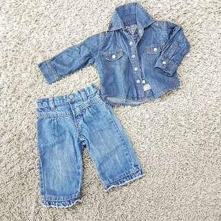 Guess Denim jeans and shirt for 3-6 month old girl