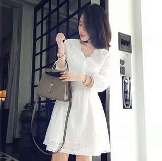 小香風白色仙女裙蕾絲洋裝