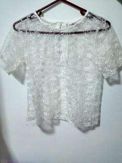 White mesh t-shirt top
