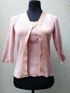 Pink Sequined Cardigan Top