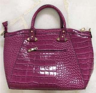DIOPHY elegant faux leather structured satchel handbag in pink
