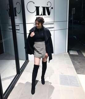 Houndstooth monochrome mini wrap skirt