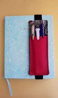 A5 pen holder bookmark for journal,diary,planner or notebook. Handmade, upcycled denim,1 of a kind.