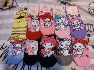 Sanrio Melody 布甸狗 卡通船襪