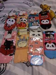 熊貓 豬 黑貓 龍貓 5字襪 卡通船襪