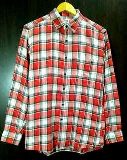 Authentic Uniqlo flannel checkered longsleeve mens polo