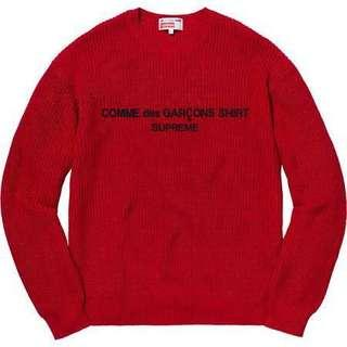 Supreme CDG L sweater Red
