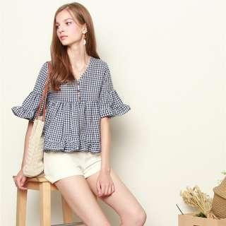 [PO] GINGHAM FRILL SLEEVE TOP