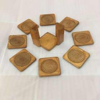 8-pc Wooden Cup Coaster Set [coffeepay] #OCT10