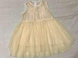 🚚 布花朵滾邊粉膚色蕾絲洋裝👗
