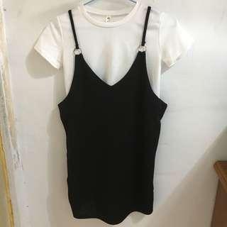 🚚 黑色吊帶短裙